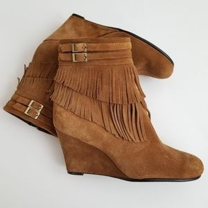 Aerosoles Plumming Bird Suede Fringe Wedge Boots